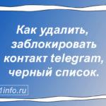 Как удалить, заблокировать контакт telegram, черный список.